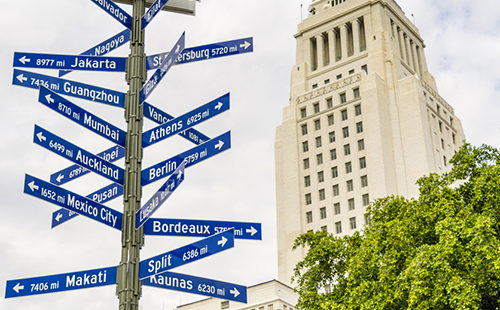Sister city signpost in Los Angeles