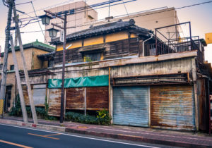 Abandoned traditional building in Kawagoe, Japan.