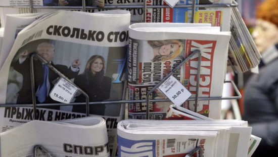 Russian newsstand displaying paper with President Trump